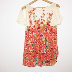 Maeve silk floral tunic blouse orange ivory small